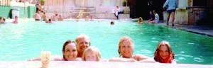 Swimming at the hot springs, 1980s. Beth Green Swallow photo.