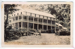 Lodge/hotel at Sleeping Child Hot Springs circa 1915-1920. It later burned to the ground.